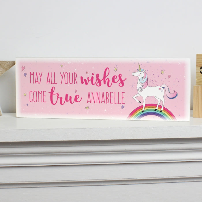 Personalised Unicorn Wooden Block Sign