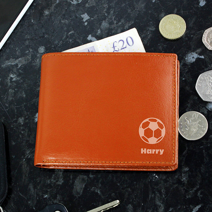 Personalised Football Tan Leather Wallet
