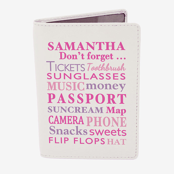 Personalised Dont Forget Cream Passport Holder