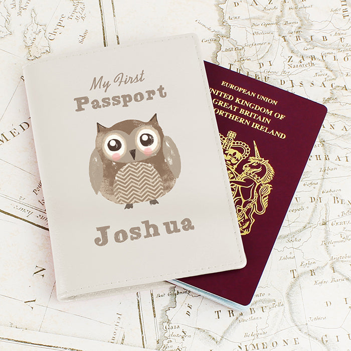 Personalised Cute Owl Cream Passport Holder