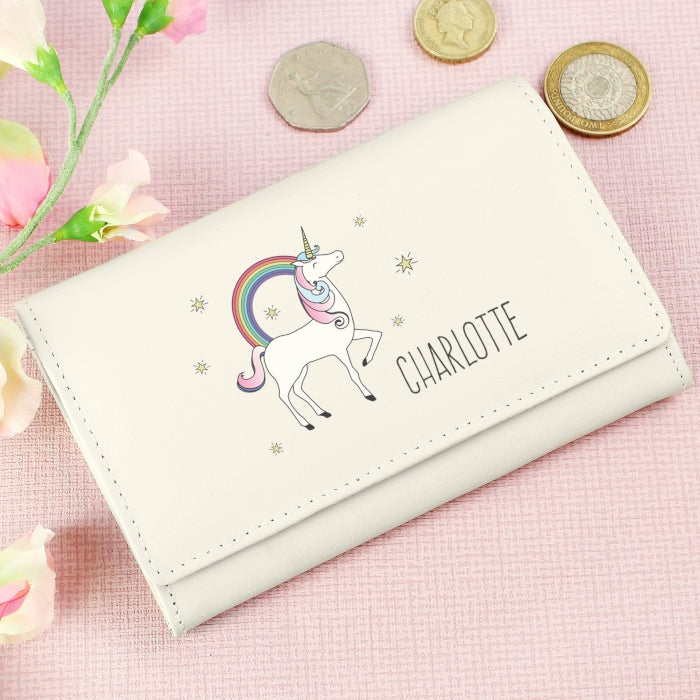 Personalised Unicorn Cream Purse