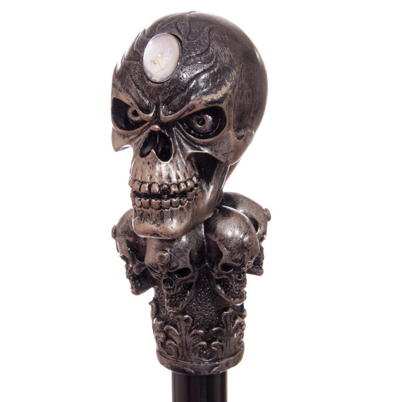 Decorative Walking Stick with Fantasy Bronze Multi Skull Top