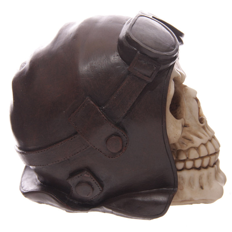 Gruesome Skull Head Money Box with Flying Cap and Goggles