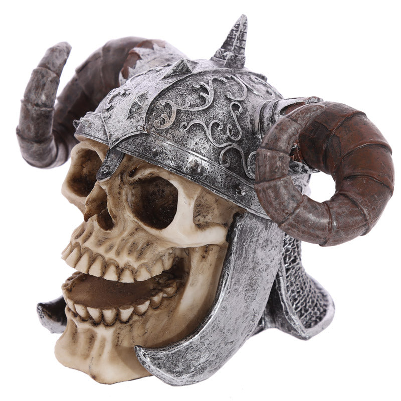 Gothic Skull Decoration wearing Twisted Horn Helmet