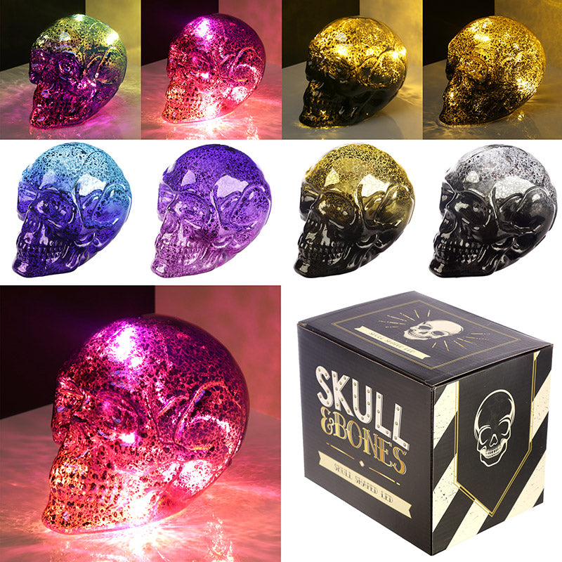 Decorative LED Light - Small Two Tone Metallic Skull