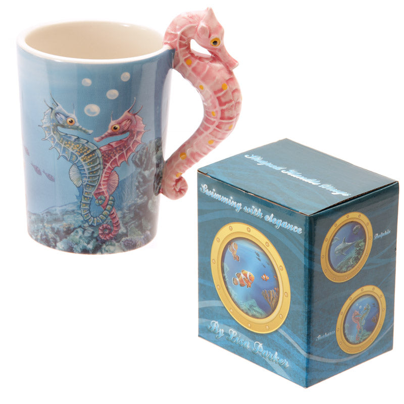 Novelty Sealife Design Seahorse Shaped Handle Ceramic Mug