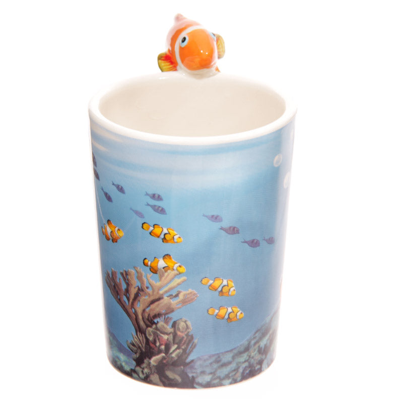 Novelty Sealife Design Clown Fish Shaped Handle Ceramic Mug