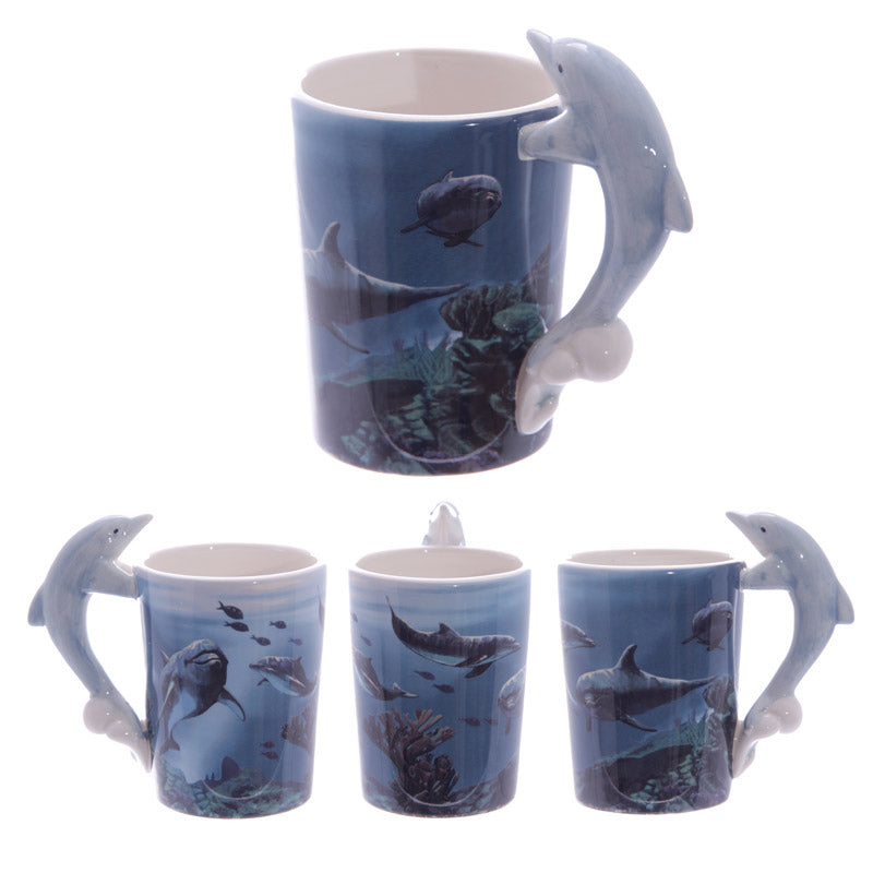 Ceramic Sealife Printed Mug with Dolphin Handle