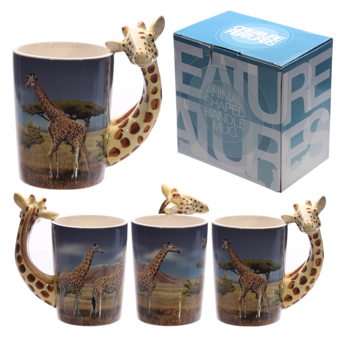Ceramic Safari Printed Mug with Giraffe Head Handle
