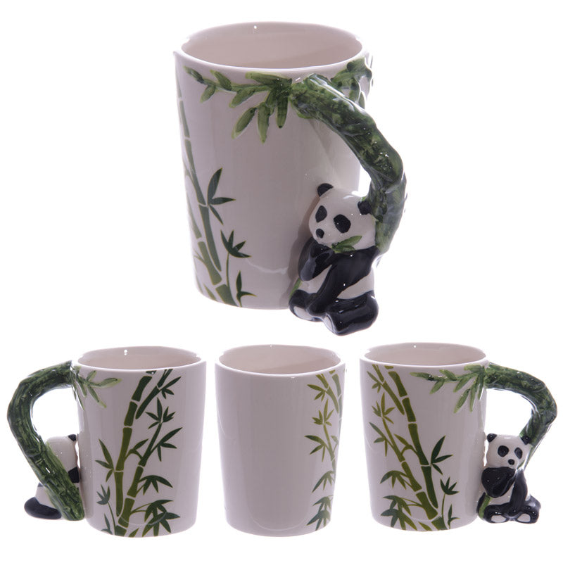 Ceramic Jungle Mug with Panda and Bamboo Handle