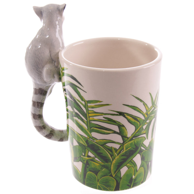Novelty Ceramic Jungle Mug with Lemur Shaped Handle