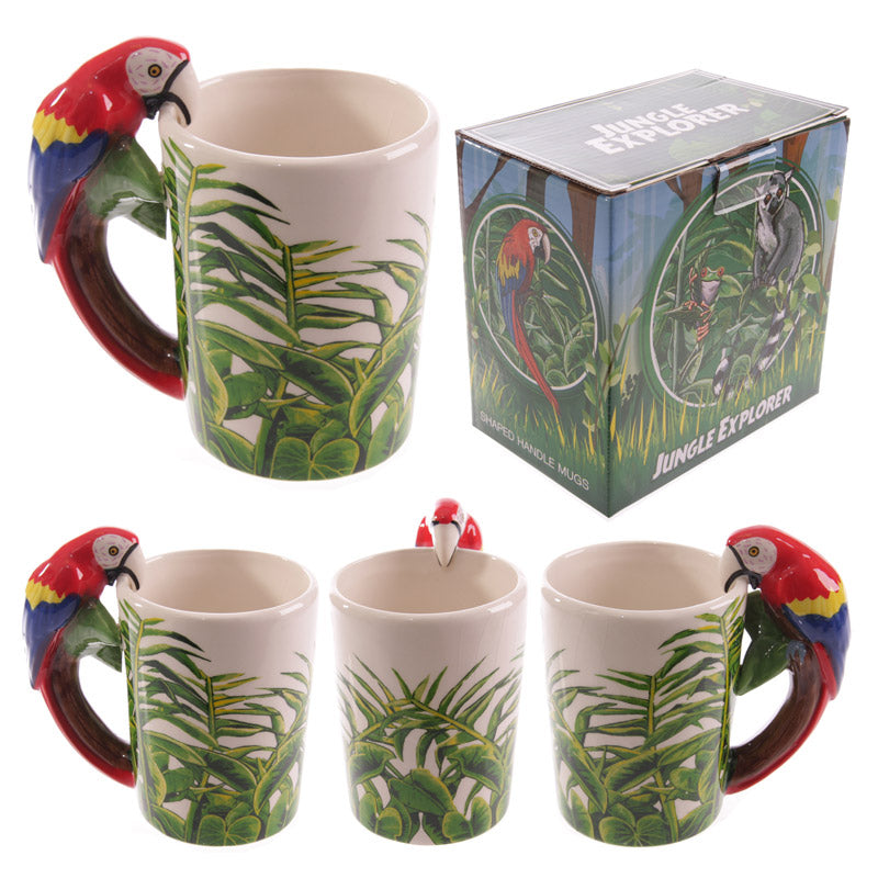 Novelty Ceramic Jungle Mug with Parrot Shaped Handle
