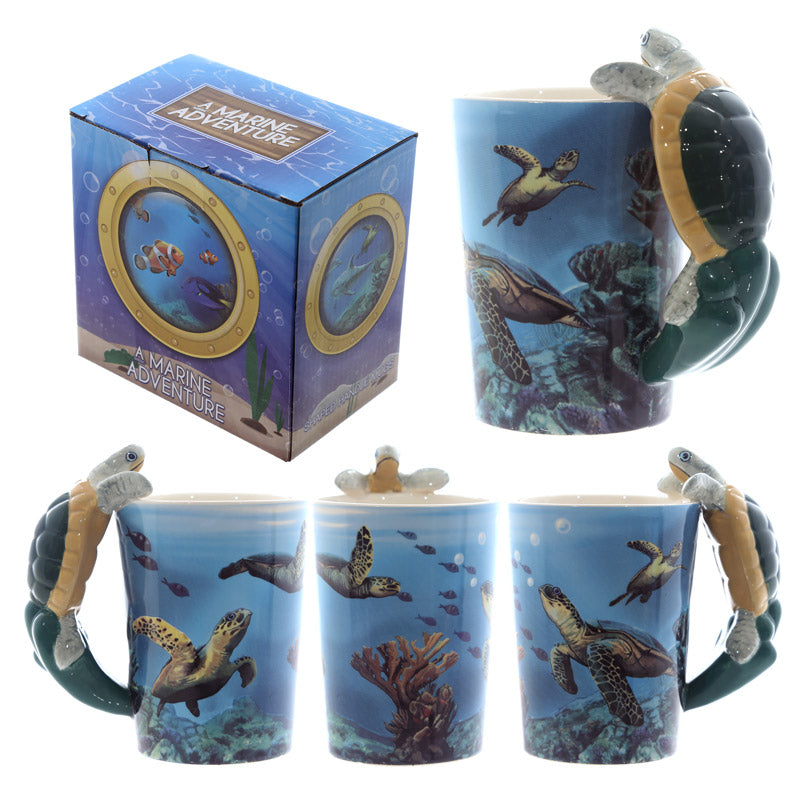 Fun Underwater Design Shaped Handle Turtle Mug
