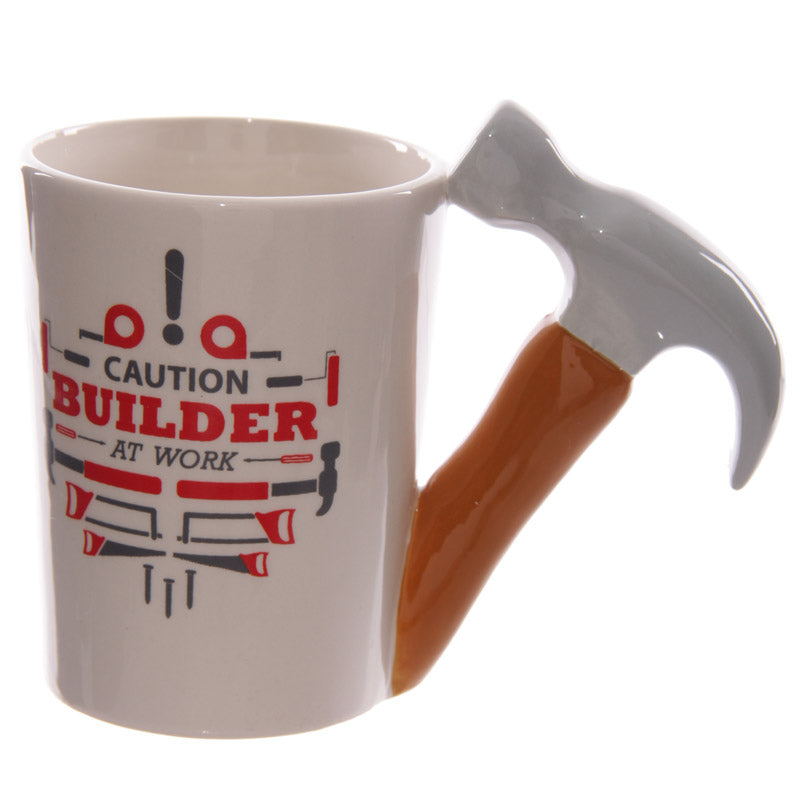 Funky Hammer Shaped Handle Ceramic Mug