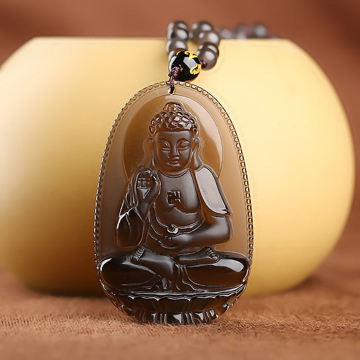 Protective natural ice obsidian amitabha buddha pendant necklace protective natural ice obsidian amitabha buddha pendant necklacevelvet pouch hand carved aloadofball Image collections