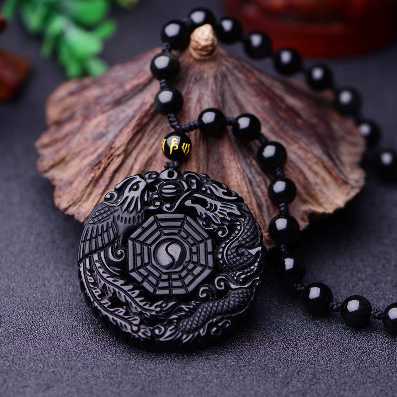 Volcanic Protective Obsidian Phoenix & Dragon Yin Yang Pendant Necklace