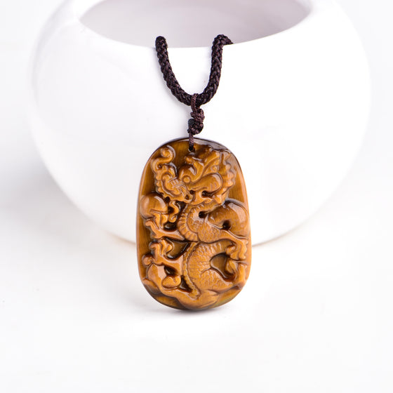 Protective Tiger Eye Dragon Pendant Necklace in Velvet Pouch - Hand Carved