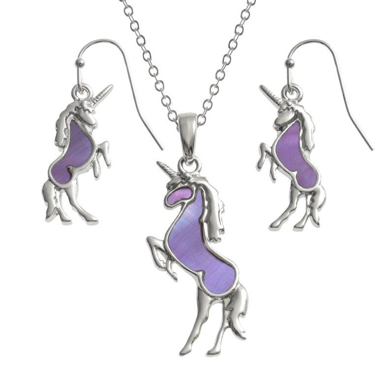 Paua Shell Unicorn Necklace Earrings Jewellery Set