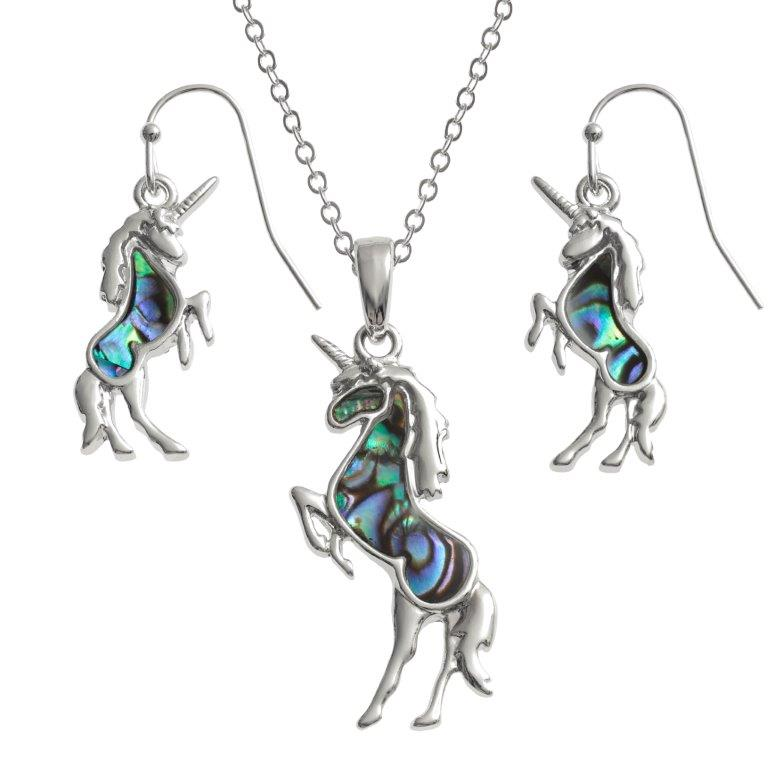 Paua Shell Blue & Green Unicorn Necklace Earrings Jewellery Set