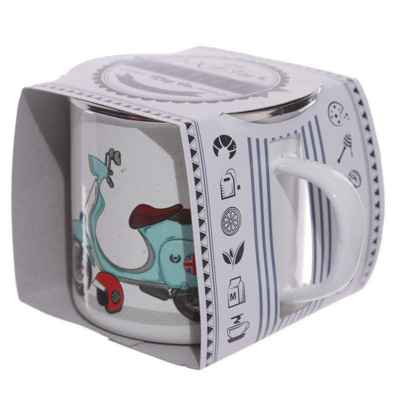 Fun Enamel Mug - Retro Scooter