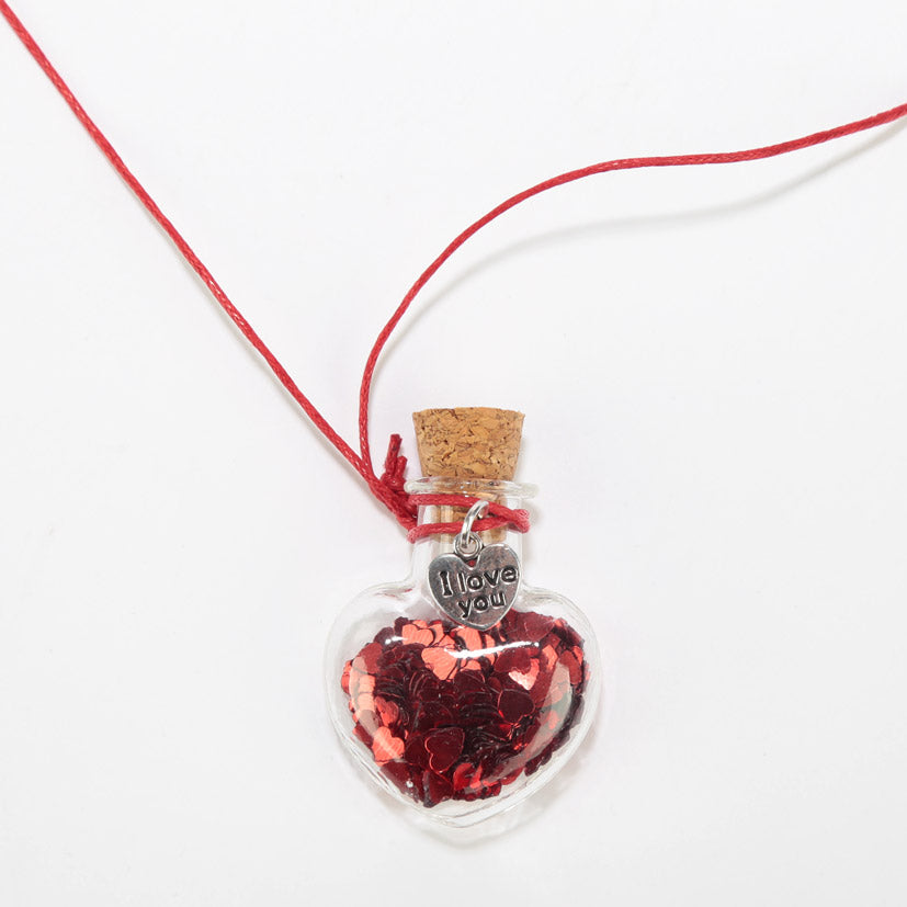 Glitter Heart Confetti Wishes Necklace
