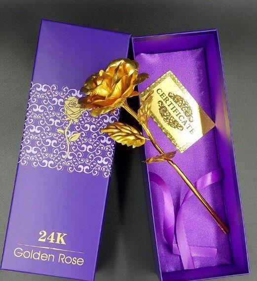 24K Gold Foil Rose With Box/Love Stand and Teddy Bear Options