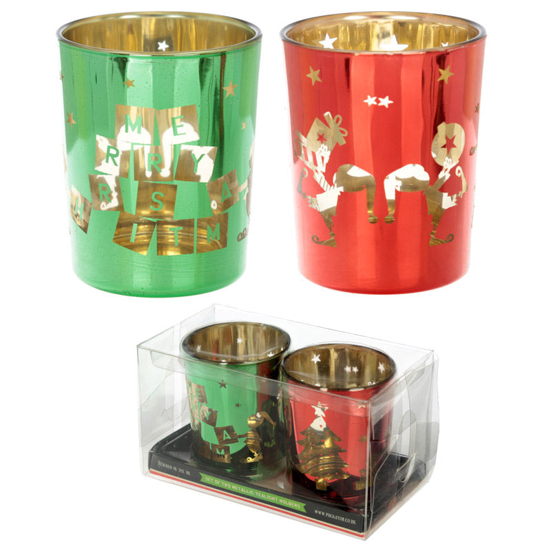 Glass Candleholder Set of 2 - Christmas Elf