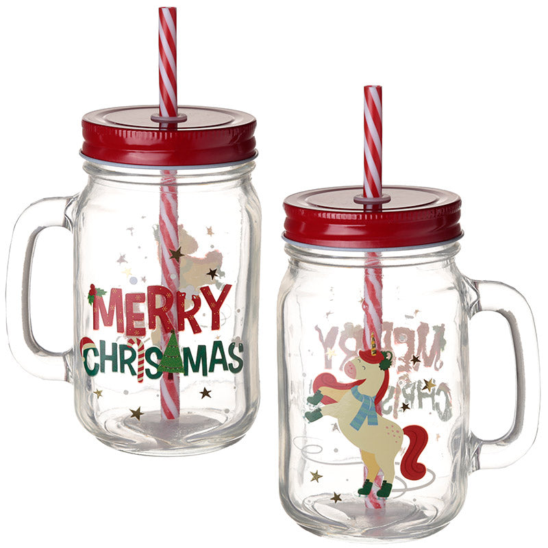 Fun Christmas Unicorn Mason Drinking Jar