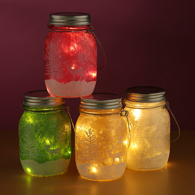 Decorative LED Christmas Scene Hanging Jar Light