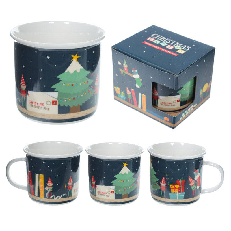 Enamel Mug Shape New Bone China Mug - Christmas Elf