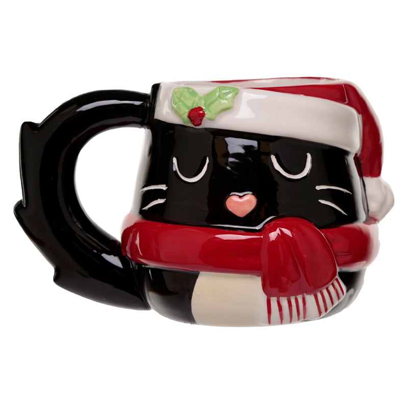 Festive Feline Cat Head Christmas Shaped Ceramic Mug
