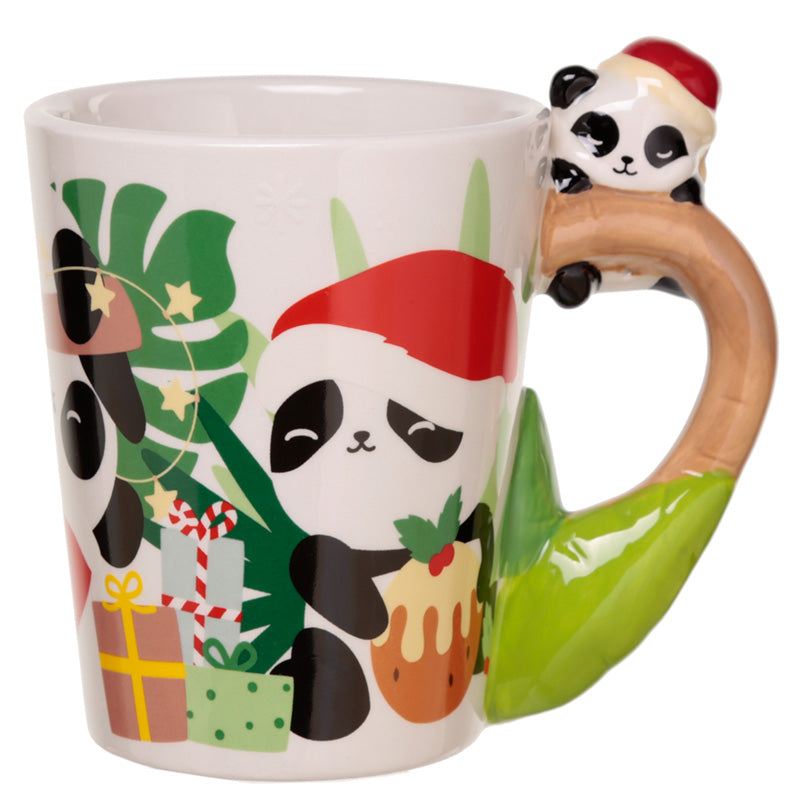 Pandarama Panda on Handle Christmas Ceramic Mug
