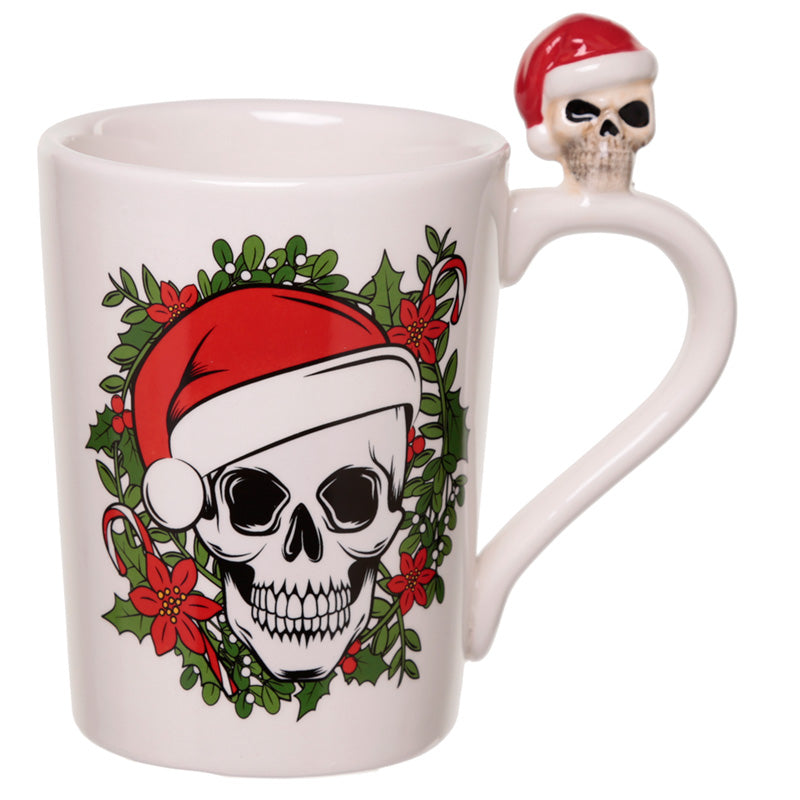 Jingle Bones Skull on Handle Christmas Ceramic Mug