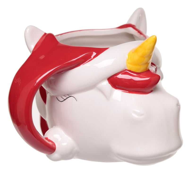 Festive Unicorn Head Christmas Shaped Ceramic Mug