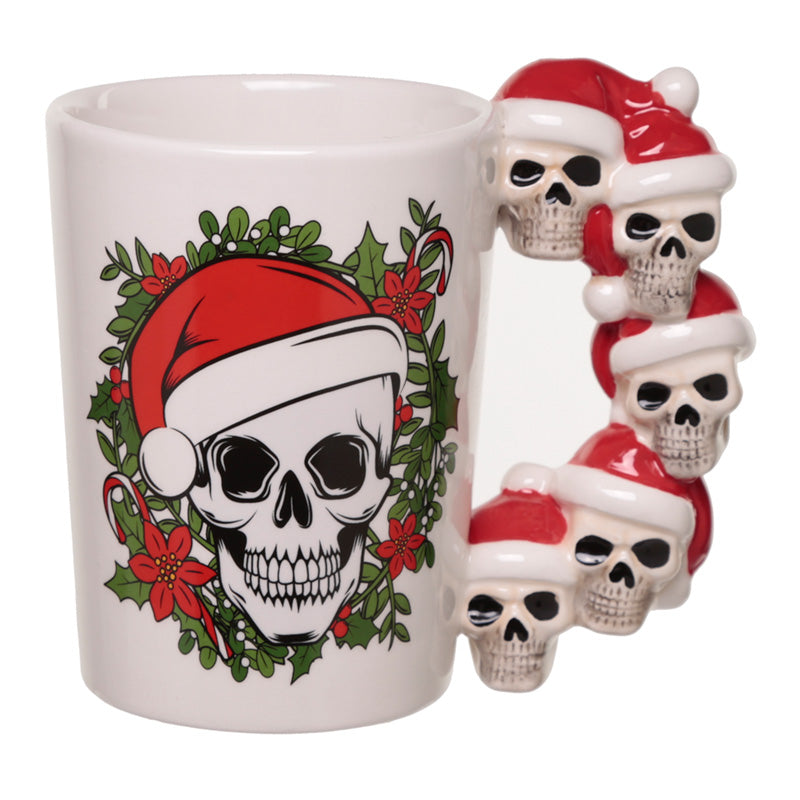 Jingle Bones Skull Handle Christmas Shaped Ceramic Mug