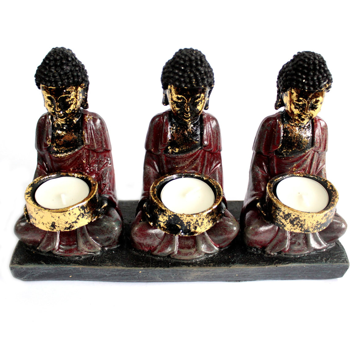 Three Sitting Buddha Red Antique Figurine Candle Holder