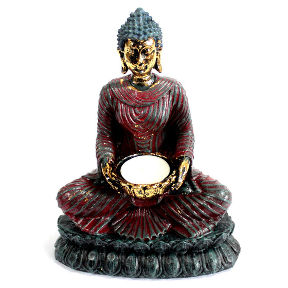 Sitting Buddha Red Antique Figurine Candle Holder