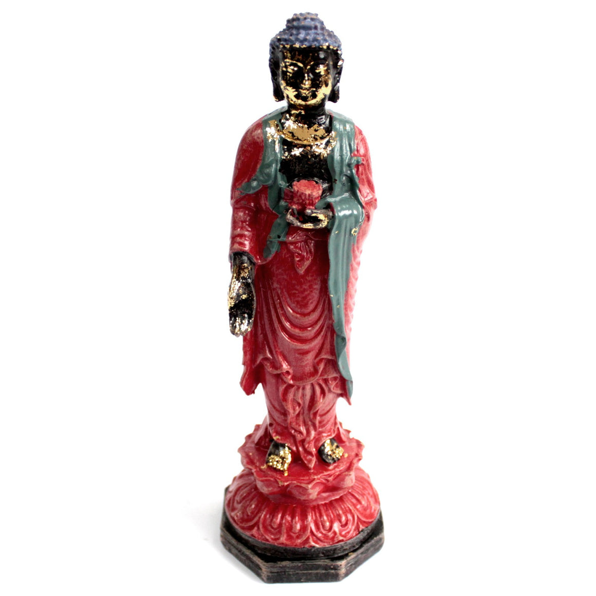 Standing Buddha Red Antique Figurine