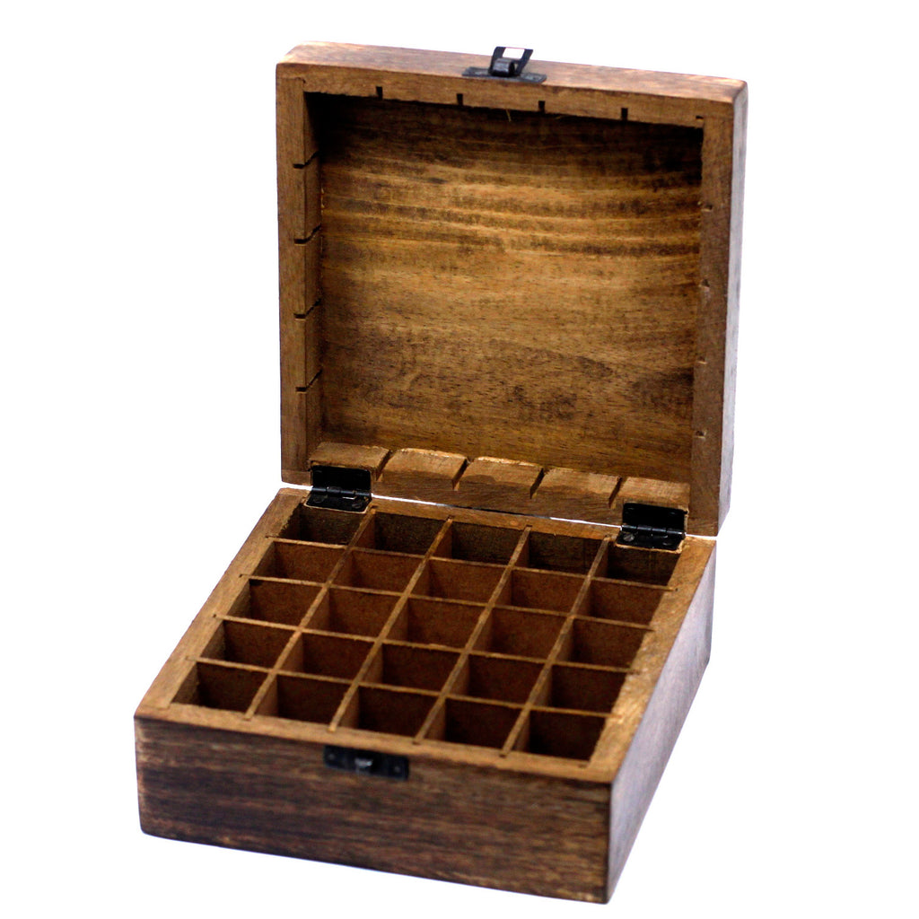 Mango Wood Floral Aromatherapy Box (25 x 10ml bottles)