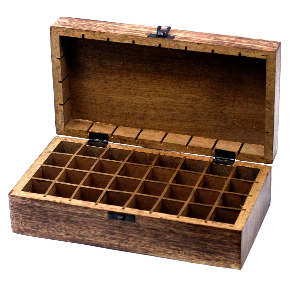 Mango Wood Floral Aromatherapy Box (32 x 10ml bottles)