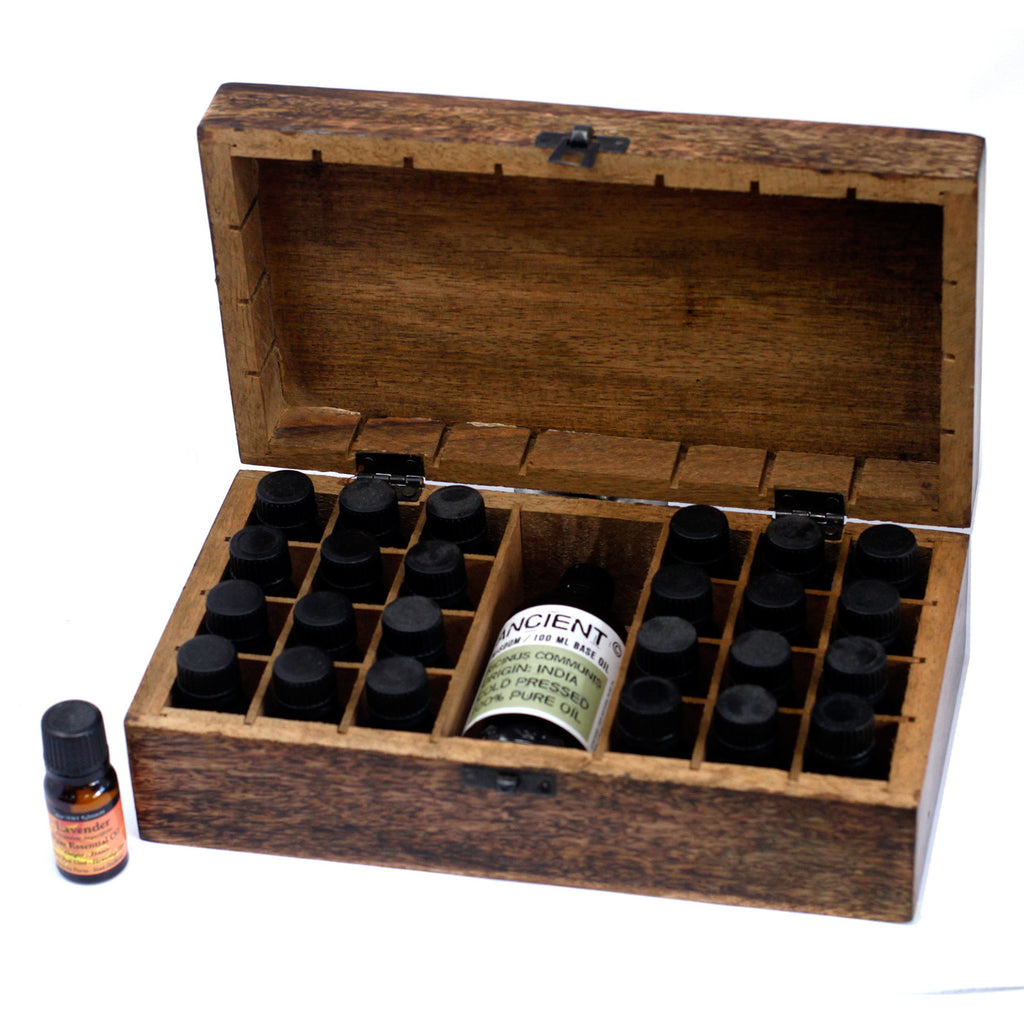 Mango Wood Floral Aromatherapy Box (24 x 10ml bottles + 1)