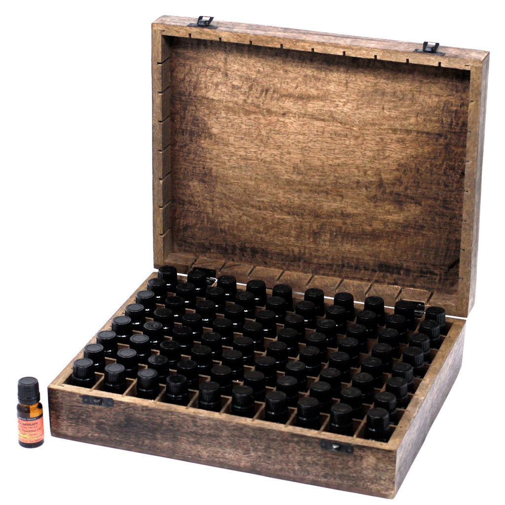Mango Wood Floral Aromatherapy Box (80 x 10ml bottles)
