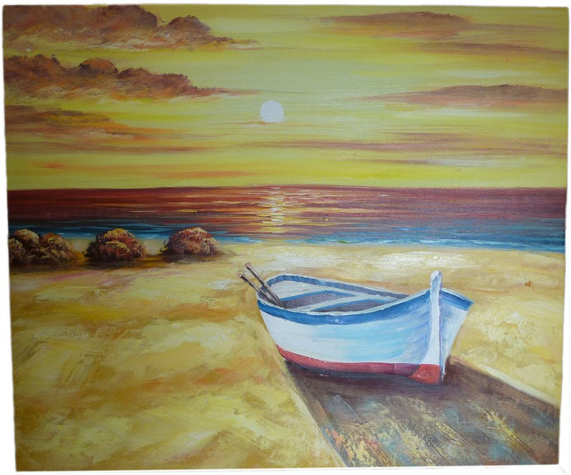 Lonely Boat By The Sea Original Oil Painting