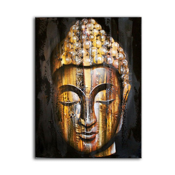 Wooden Texture Buddha Art Golden Painting