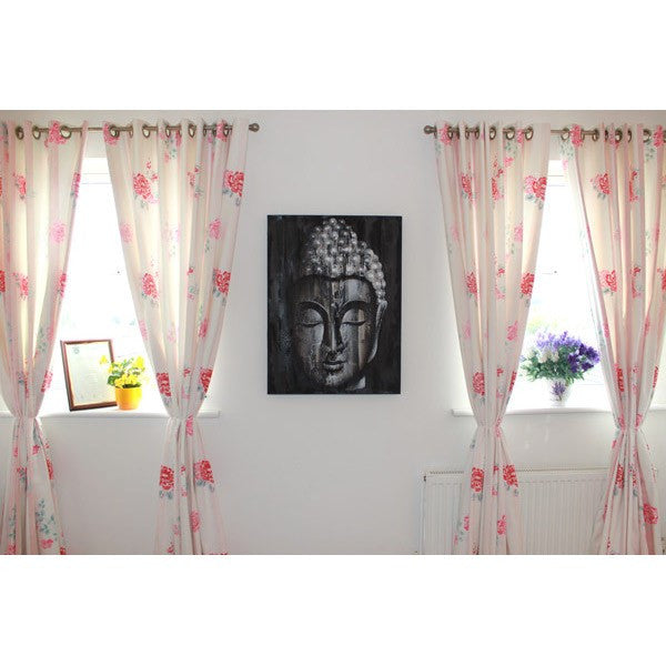 Wood Texture Buddha Art Silver Painting