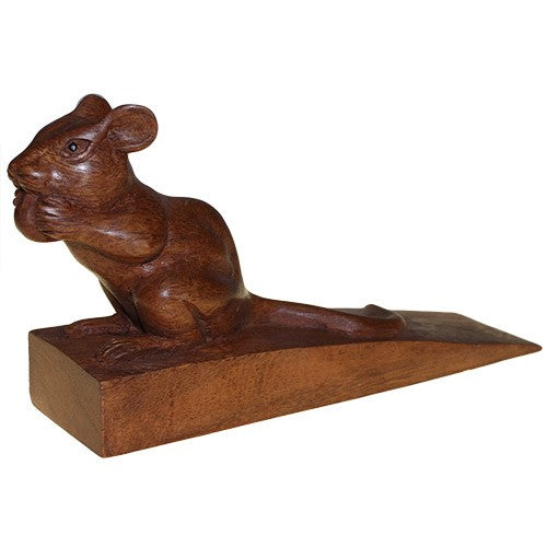 Hand Carved Decorative Wooden Door-Stop - Mouse