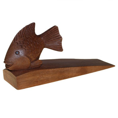 Hand Carved Decorative Wooden Door-Stop - Fish