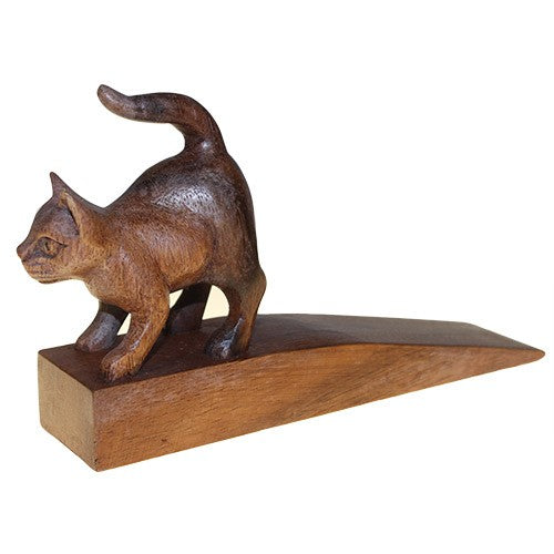 Hand Carved Decorative Wooden Door-Stop - Cat