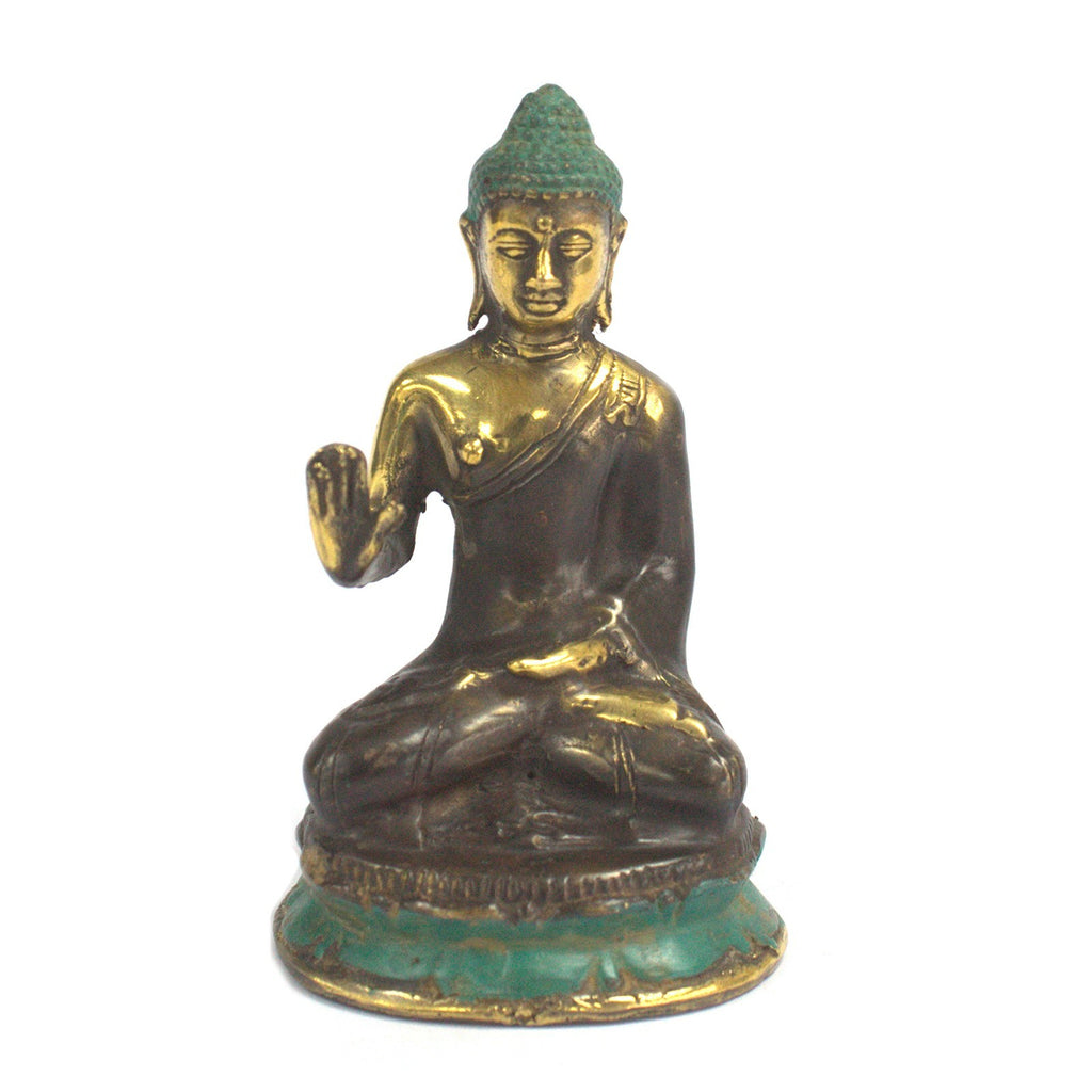 Decorative Sitting Buddha Brass Figurine with Hand Up