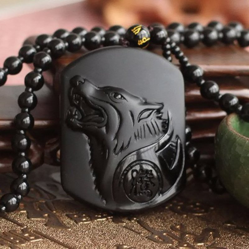 Hand Carved Volcanic Protective Obsidian Wolf Head Pendant Necklace